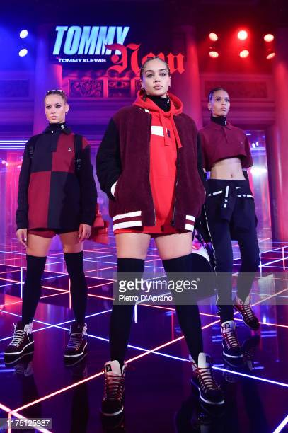 Model, Jasmine Sanders and a model walks the runway at the Tommy Hilfiger presentation in Milan during the Milan Fashion Week Spring/Summer 2020 on...