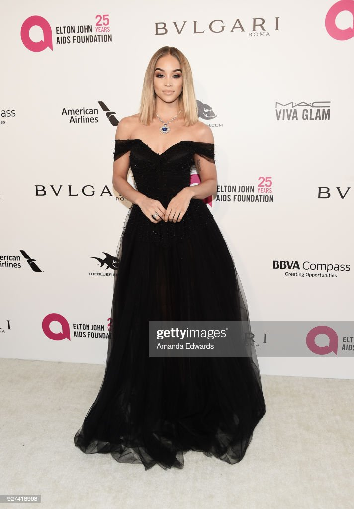 Model Jasmine Sanders arrives at the 26th Annual Elton John AIDS Foundation's Academy Awards Viewing Party on March 4, 2018 in West Hollywood, California.