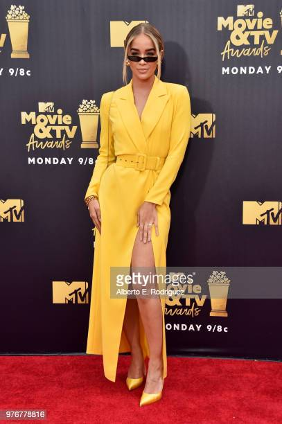 Model Jasmine Sanders attends the 2018 MTV Movie And TV Awards at Barker Hangar on June 16 2018 in Santa Monica California