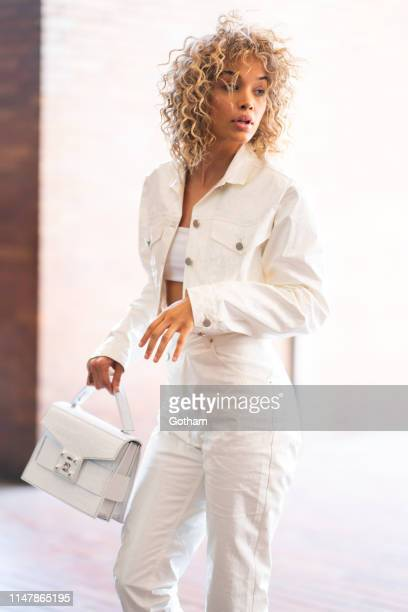Model Jasmine Sanders is seen in the Financial District on May 08 2019 in New York City