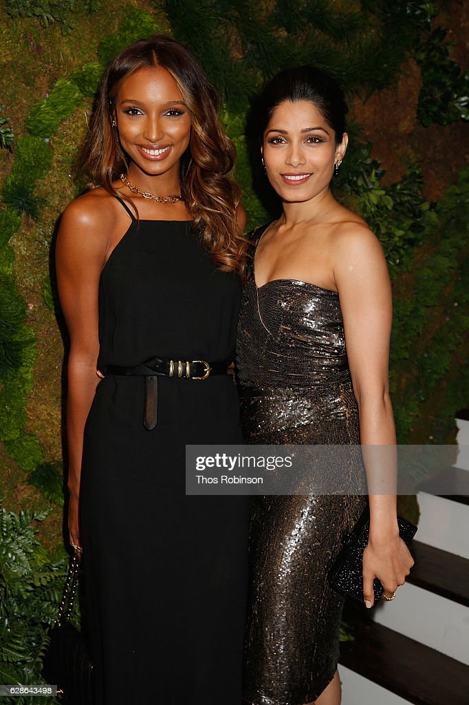 Model Jasmine Tookes and actress Freida Pinto attend the John Hardy Artisan in Residence Launch at John Hardy Soho Flagship on December 8, 2016 in New York City.