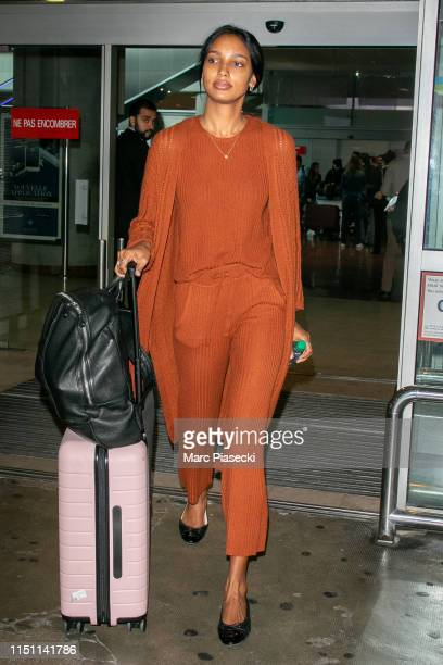 Model Jasmine Tookes arrives ahead the 72nd annual Cannes Film Festival at Nice Airport on May 23 2019 in Nice France
