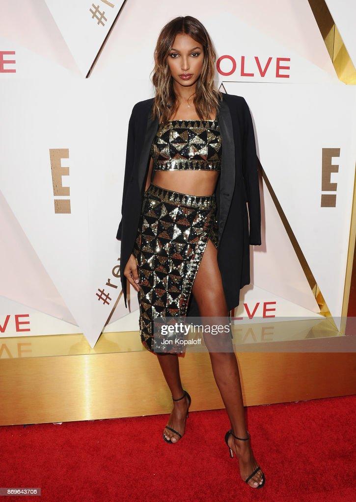 Model Jasmine Tookes arrives at #REVOLVEawards at DREAM Hollywood on November 2, 2017 in Hollywood, California.