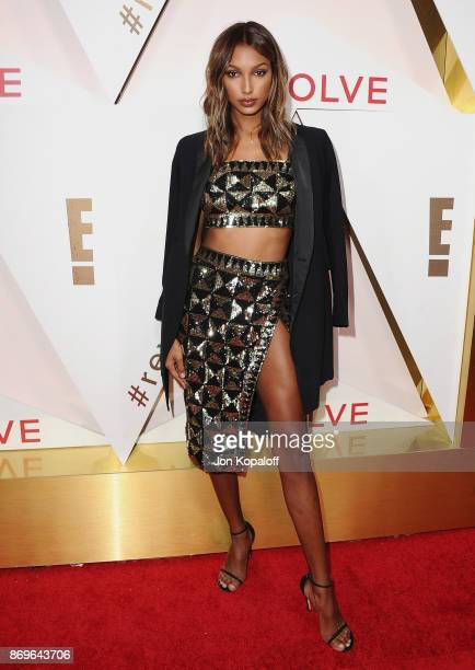 Model Jasmine Tookes arrives at #REVOLVEawards at DREAM Hollywood on November 2 2017 in Hollywood California