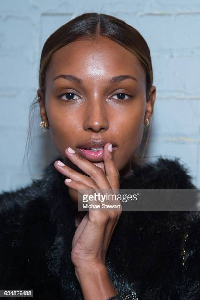Model Jasmine Tookes attend the Jonathan Simkhai fashion show during February 2017 New York Fashion Week The Shows at Gallery 1 Skylight Clarkson Sq...