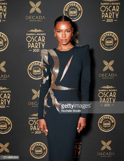 Model Jasmine Tookes attends Darren Dzienciol & Richie Akiva's Oscar Party 2021 on April 25, 2021 in Bel Air, California.