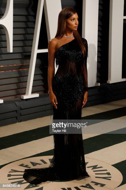 Model Jasmine Tookes attends the 2017 Vanity Fair Oscar Party at Wallis Annenberg Center for the Performing Arts on February 26 2017 in Beverly Hills...