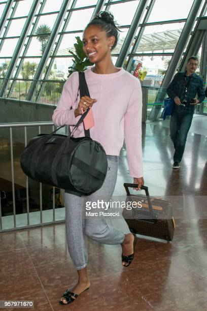 Model Jasmine Tookes is seen during the 71st annual Cannes Film Festival at Nice Airport on May 13 2018 in Nice France