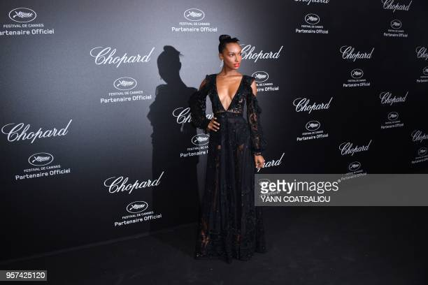 US model Jasmine Tookes poses as she arrives on May 11 2018 for the Chopard party on the sidelines of the 71st edition of the Cannes Film Festival in...