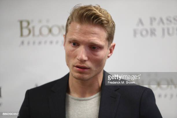 Model Jason Boyce speaks during a press conference with his attorney Lisa Bloom and model Mark Ricketson both men are accusing photographer Bruce...