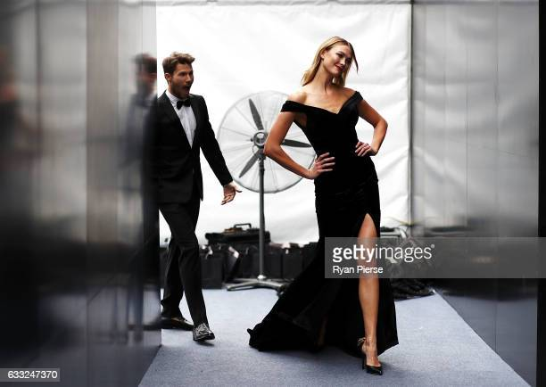 Model Jason Dundas and Model Karlie Kloss showcase designs by Rachel Gilbert during rehearsal ahead of the David Jones Autumn/Winter 2016 Fashion...