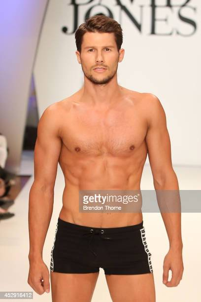 Model Jason Dundas showcases designs by Jets during a rehearsal ahead of the David Jones Spring/Summer 2014 Collection Launch at David Jones...