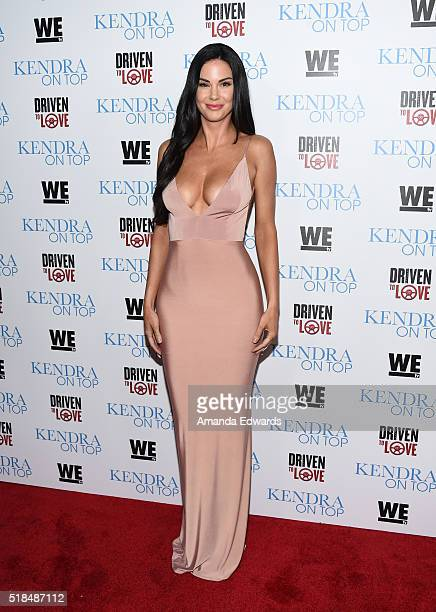Model Jayde Nicole arrives at the WE tv celebration of the premiere of Kendra On Top and Driven To Love at Estrella Sunset on March 31 2016 in West...
