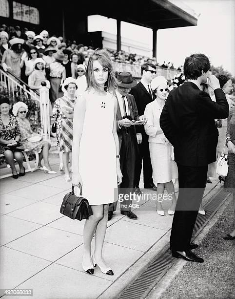 Model Jean Shrimpton wore this simple and at the time revealing outfit sans gloves and hat to Derby Day during the 1965 Spring Racing Carnival