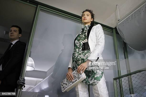 Model Jenaye Noah poses Backstage prior the Jean Paul Gaultier Fashion Week on January 25, 2017 in Paris, France.