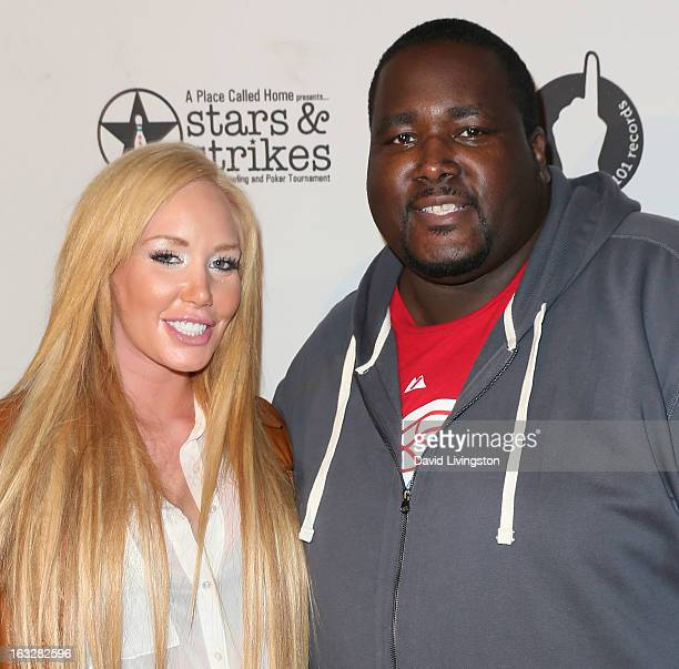 Model Jenna Bentley and actor Quinton Aaron attend the 7th Annual Stars Strikes Celebrity Bowling and Poker Tournament benefiting A Place Called Home...