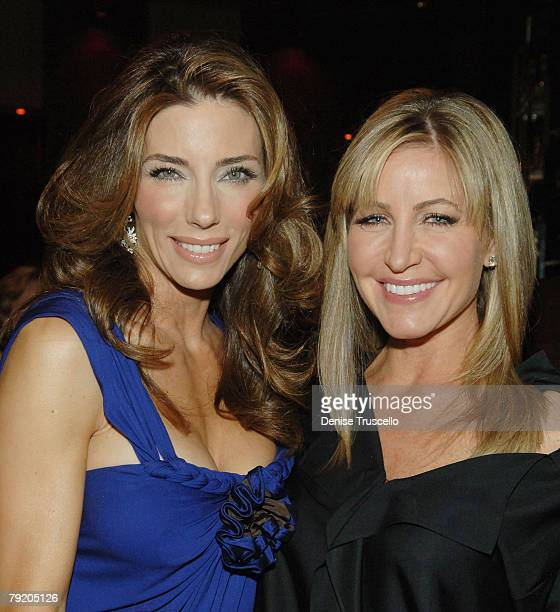 Model Jennifer Flavin and Laurie Feltheimer pose for photos at the prered carpet cocktail party for the World Premiere of Rambo at Prive at The...