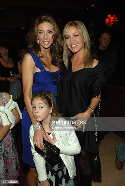 Model Jennifer Flavin Scarlet Stallone and Laurie Feltheimer pose for photos at the prered carpet cocktail party for the World Premiere of Rambo at...