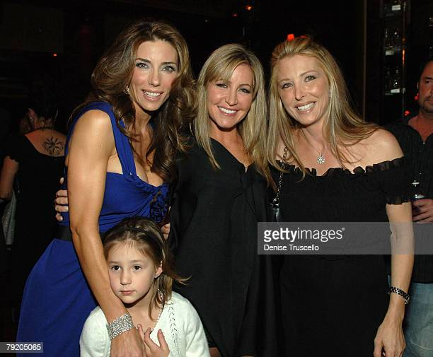 Model Jennifer Flavin Scarlet Stallone Laurie Feltheimer and Trishia Elattrache pose for photos at the prered carpet cocktail party for the World...