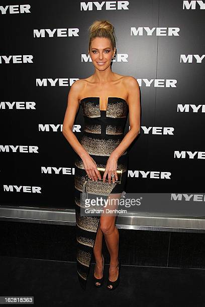 Model Jennifer Hawkins arrives at the Myer Autumn/Winter 2013 collections launch at Mural Hall at Myer on February 28 2013 in Melbourne Australia