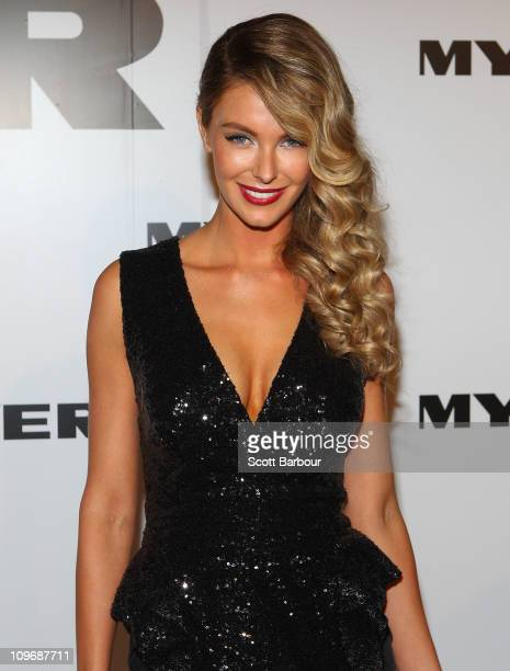 Model Jennifer Hawkins arrives at the Myer Autumn/Winter Season Launch 2011 at The Royal Exhibition Building on March 1 2011 in Melbourne Australia