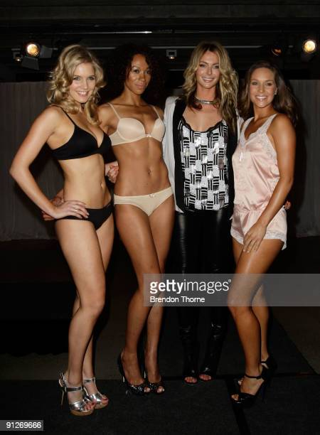 Model Jennifer Hawkins poses with models wearing the new Lovable lingerie  range during the Cleo Lovable f838d37e0