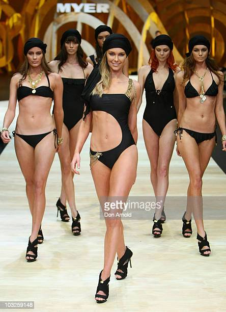 Model Jennifer Hawkins showcases designs on the catwalk at the Myer Spring/Summer 2009/2010 collection launch at Carriageworks on August 5 2010 in...