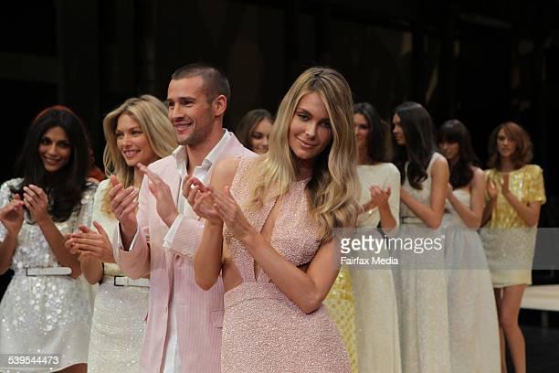Model Jennifer Hawkins wears Jayson Brunsdon,male model Kris wears Dom Bagnato and model Jessica Hart wearing Jayson Brunsdon as well for the dress...