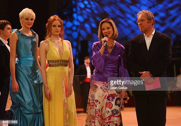 Model Jennifer Hof model Barbara Meier actress AnnKathrin Kramer and actor Harald Krassnitzer lead a charity drive at the Semper Opera Ball on...
