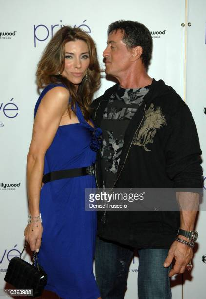 Model Jennifer Stallone and actor Sylvester Stallone attend the World Premiere of Rambo after party at prive at The Planet Hollywood Resort Casino on...