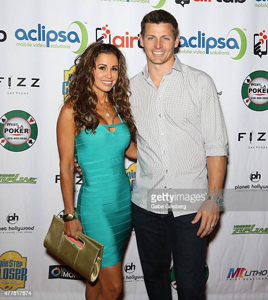 Model Jennifer WalcottArchuleta and her husband former National Football League player Adam Archuleta attend the Raising the Stakes for Cerebral...