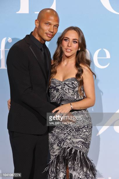 Model Jeremy Meeks and partner British socialite Chloe Green pose upon their arrival at the 2nd Monte-Carlo Gala for the Global Ocean 2018 held in...