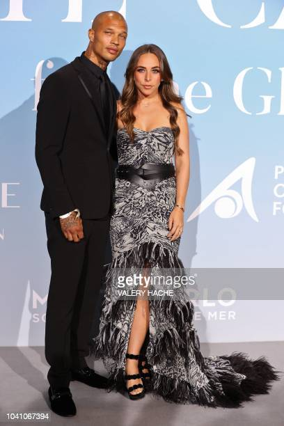 US model Jeremy Meeks and partner British socialite Chloe Green pose upon their arrival at the 2nd MonteCarlo Gala for the Global Ocean 2018 held in...