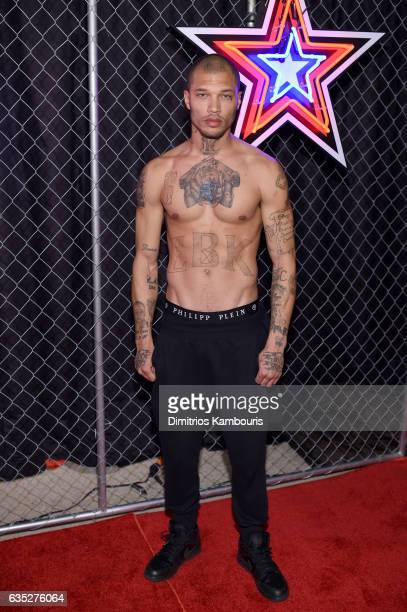 Model Jeremy Meeks poses backstage for the Philipp Plein Fall/Winter 2017/2018 Women's And Men's Fashion Show at The New York Public Library on...