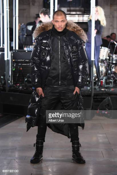 Model Jeremy Meeks the runway for the Philipp Plein collection during New York Fashion Week: The Shows at New York Public Library on February 13,...