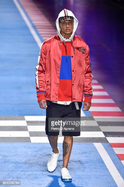 Model Jeremy Meeks walks the runway at the Tommy Hilfiger show during Milan Fashion Week Fall/Winter 2018/19 on February 25, 2018 in Milan, Italy.