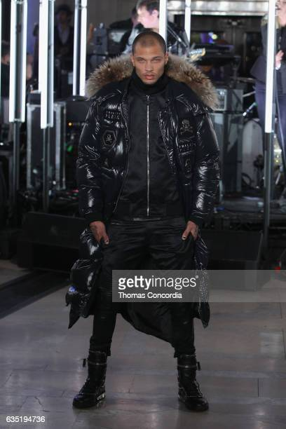 Model Jeremy Meeks walks the runway wearing look for the Philipp Plein Fall/Winter 2017/2018 Women's And Men's Fashion Show at The New York Public...