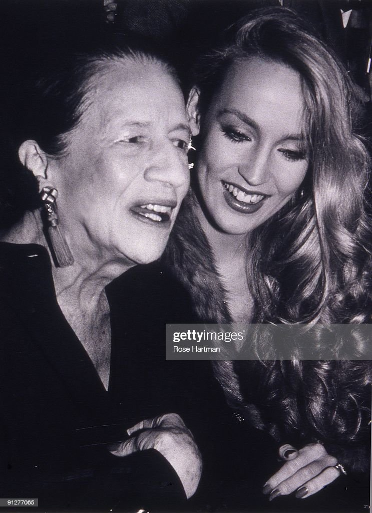 Model Jerry Hall (right) and fashion editor Diana Vreeland (1903 - 1989) at Studio 54, New York, 1977.