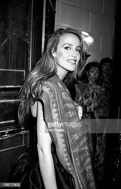 Model Jerry Hall attends Woody Allen's New Year's Eve Party on December 31, 1979 at Harkness House in New York City.