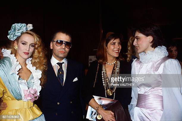 Model Jerry Hall designer Karl Lagerfeld Princess Caroline of Monaco and model Ines de la Fressange attend the Chanel 1985 SpringSummer haute couture...