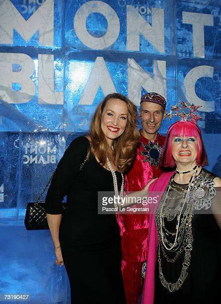 Model Jerry Hall Fashion Designer Zandra Rhodes and friend pose as they attend the Montblanc 'Night Of The Stars' Gala on February 2 2007 in Chamonix...
