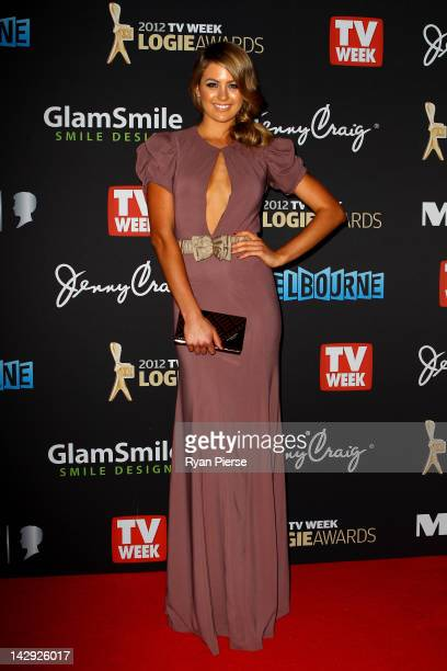 Model Jesinta Campbell arrives at the 2012 Logie Awards at the Crown Palladium on April 15 2012 in Melbourne Australia