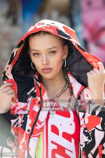Model Jess Alexander wears all Iceberg during London Fashion Week Men's June 2019 on June 08 2019 in London England