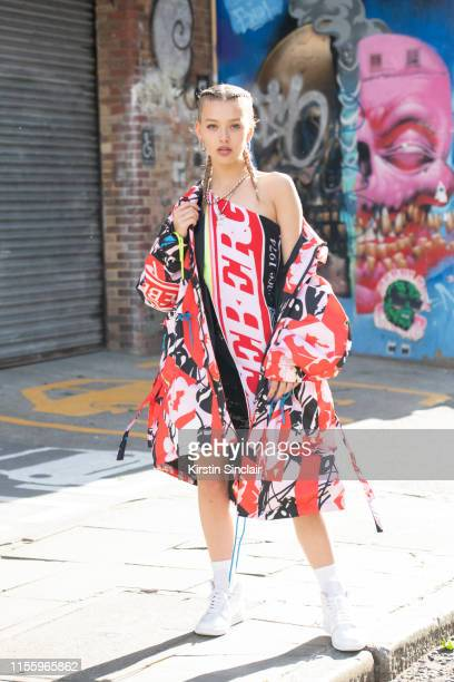 Model Jess Alexander wears all Iceberg with Nike trainers during London Fashion Week Men's June 2019 on June 08 2019 in London England