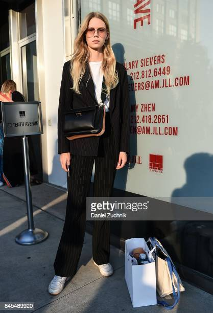 Model Jess PW is seen outside the DVF show during New York Fashion Week Women's S/S 2018 on September 10 2017 in New York City