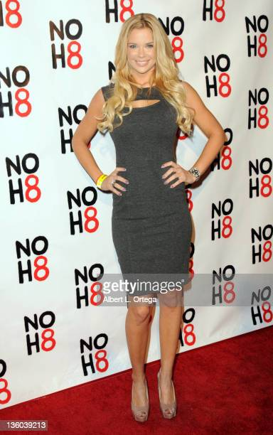 Model Jessa Hinton arrives for the City Of West Hollywood's Proclaimation of Dec 13th as NOH8 Day Held at The House Of Blues on December 13 2011 in...