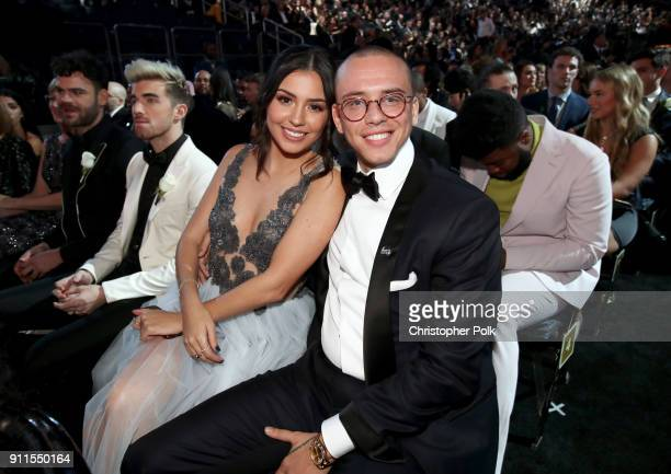 Model Jessica Andrea and recording artist Logic attend the 60th Annual GRAMMY Awards at Madison Square Garden on January 28 2018 in New York City