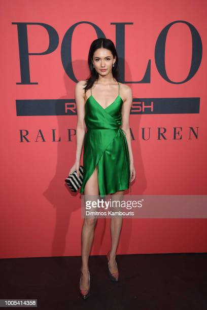 Model Jessica Barta Lam attends the Polo Red Rush Launch Party with Ansel Elgort at Classic Car Club Manhattan on July 25 2018 in New York City