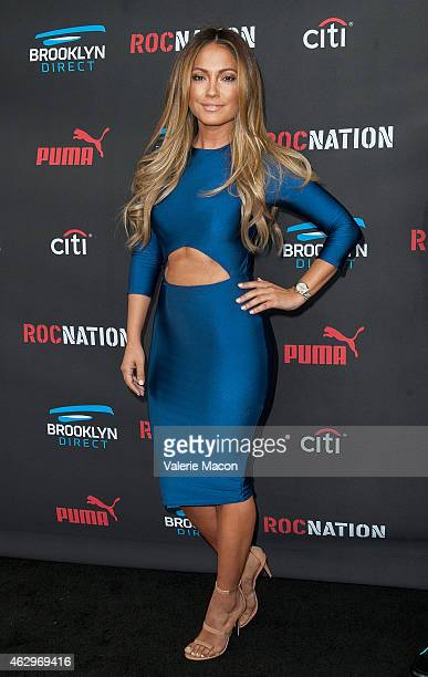 Model Jessica Burciaga arrives at the Roc Nation Pre-GRAMMY Brunch on February 7, 2015 in Beverly Hills, California.