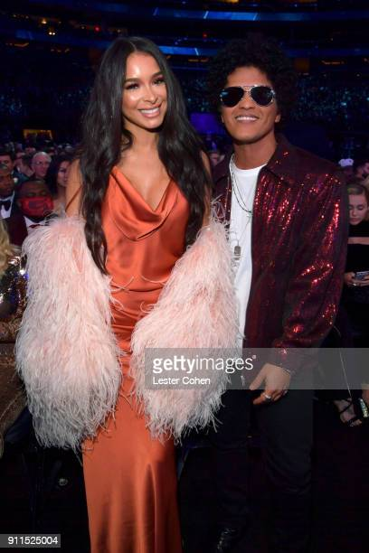 Model Jessica Caban and recording artist Bruno Mars attend the 60th Annual GRAMMY Awards at Madison Square Garden on January 28 2018 in New York City